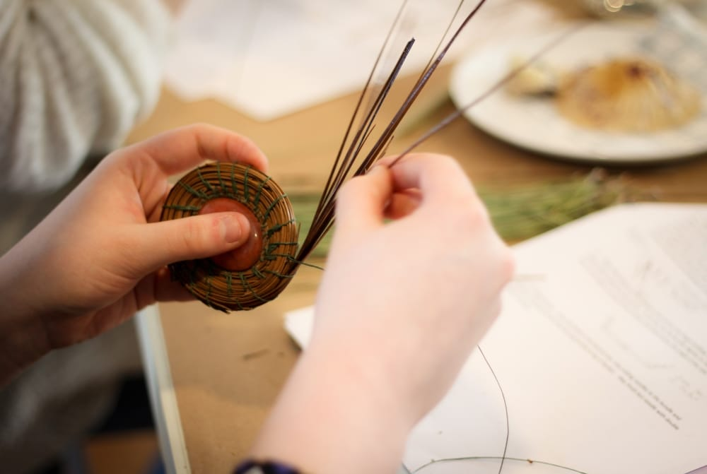Three Pines Farm in Cedar Falls offers an array of classes including Pine Needle Basketry