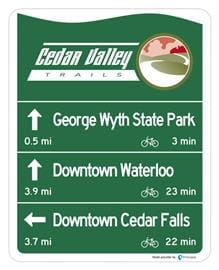 Wayfinding signs help hikers and bicyclists find their way through extensive trails
