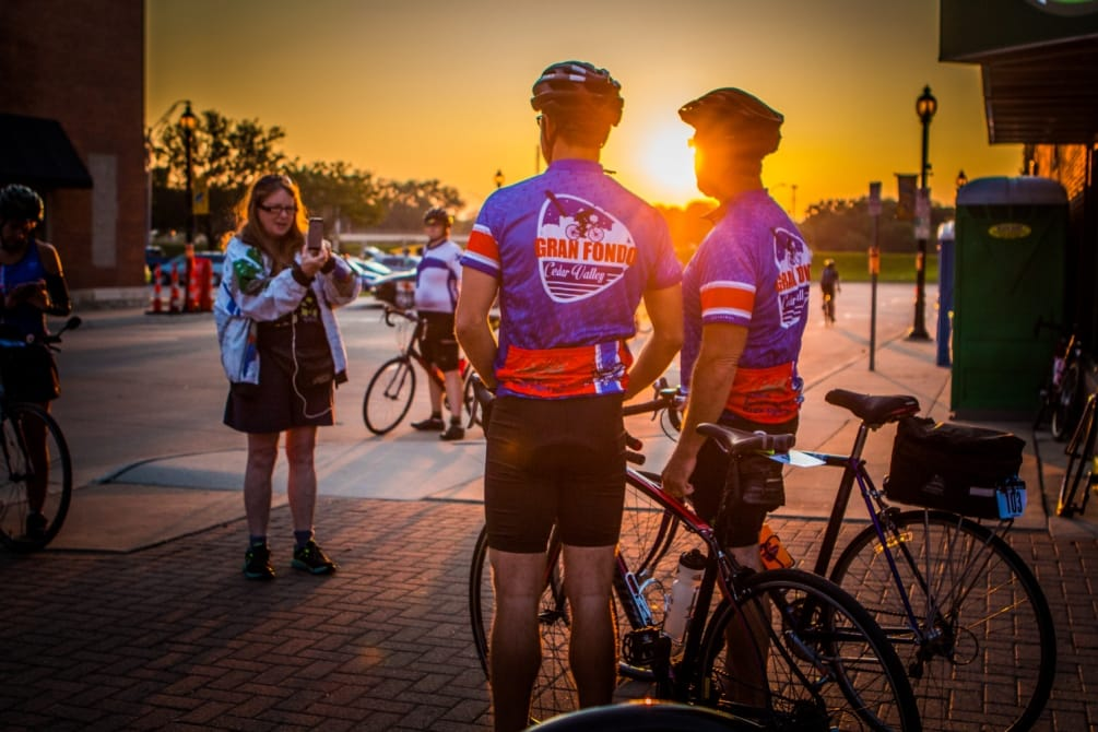 Gran Fondo Cedar Valley is an bicycling endurance event. Enjoy Fondo Fest after the ride in downtown Cedar Falls, Iowa. August 19, 2017.