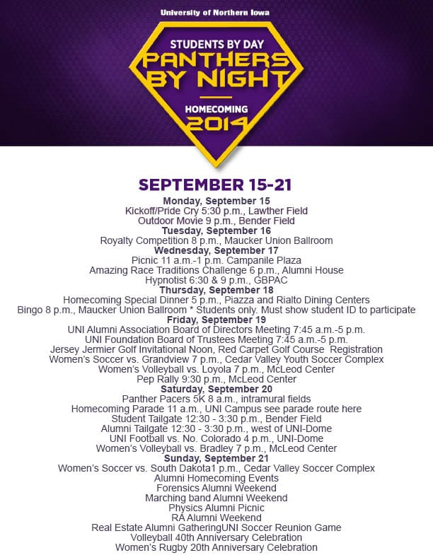 2014UNI Homecoming and Football Schedule