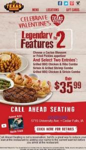 Texas Roadhouse Valentine special
