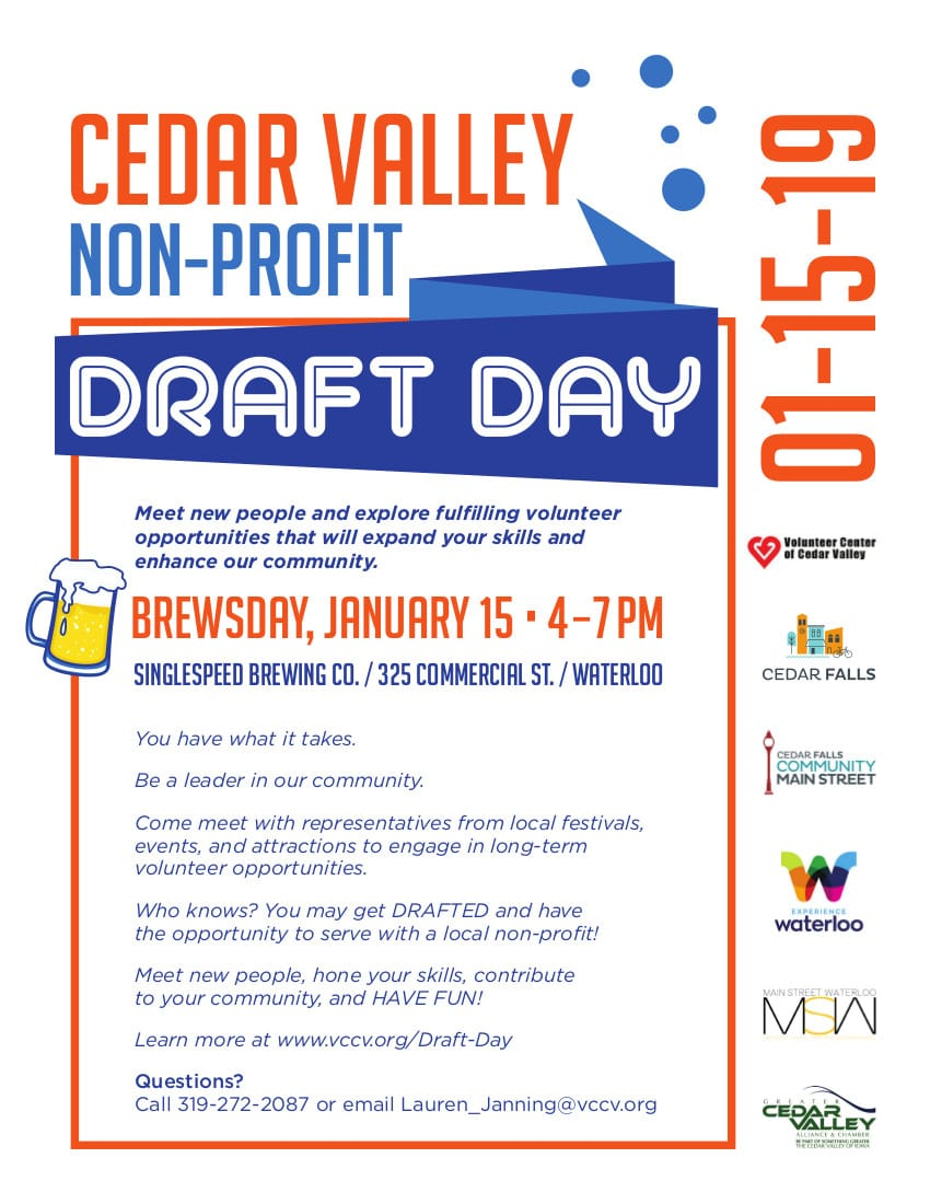 Cedar Valley Non-Profit Draft Day is January 15, 2019