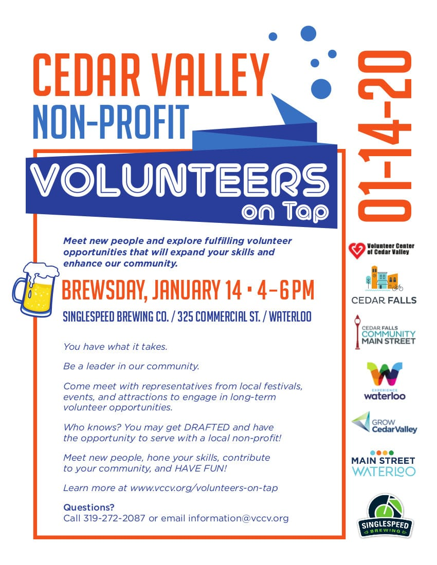 Cedar Valley Volunteers on Tap, January 14, 2020