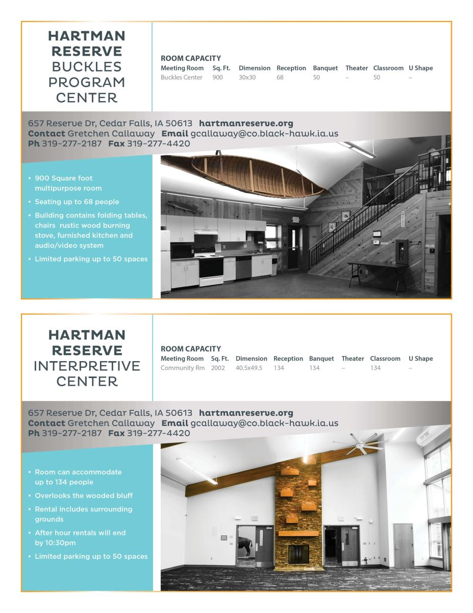 Hartman Reserve Buckles Program Center  |  Meeting Facilities  |  Cedar Falls, Iowa