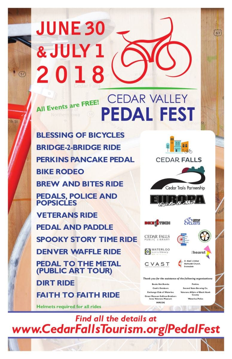 Pedal Fest 2018 is June 30 and July 1  |  Cedar Falls Tourism