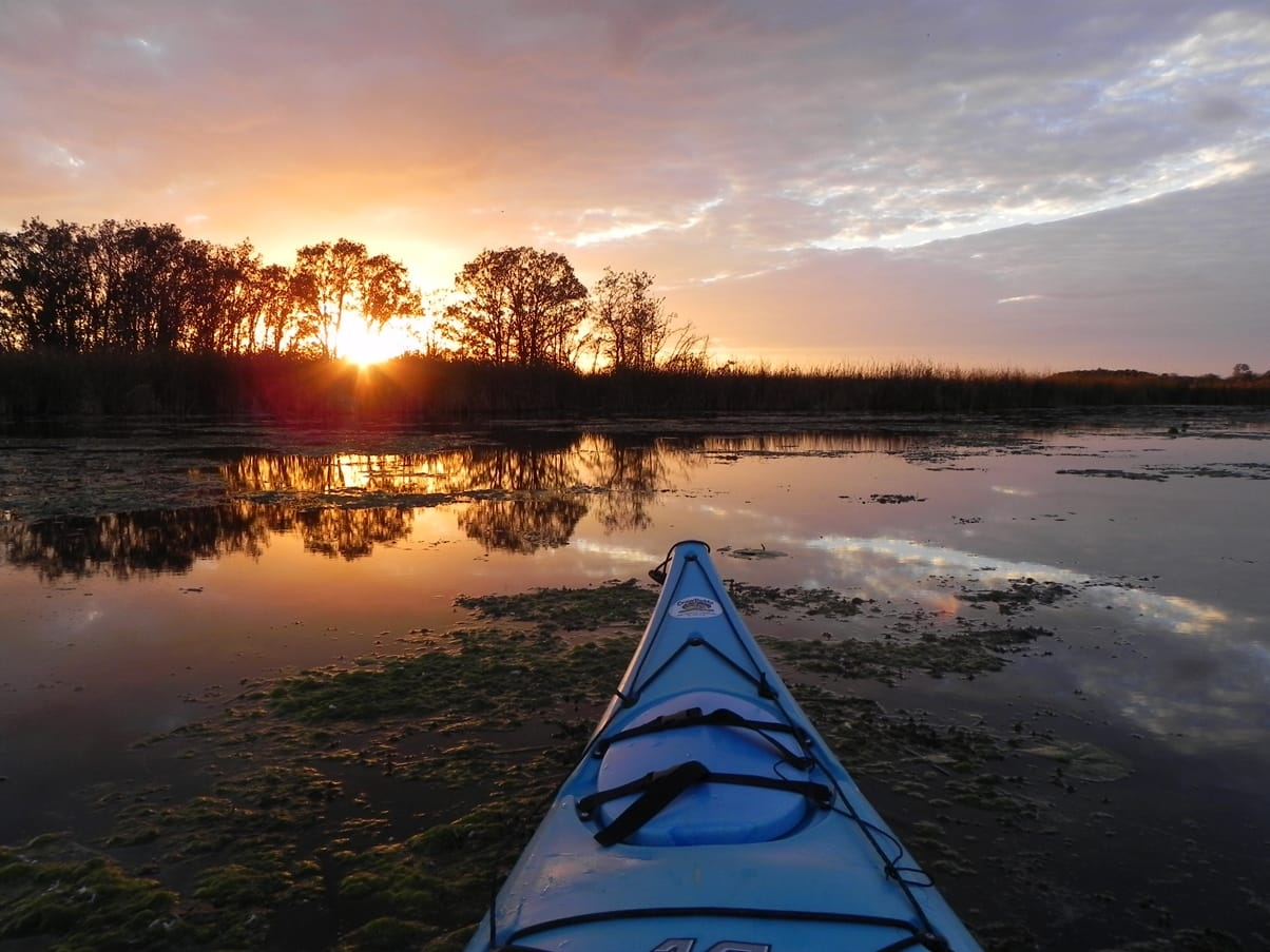 Kayaking in Cedar Falls, Iowa. Request our Cedar Valley Trails & Recreation Guide for a map of our water trails and biking/hiking trails.