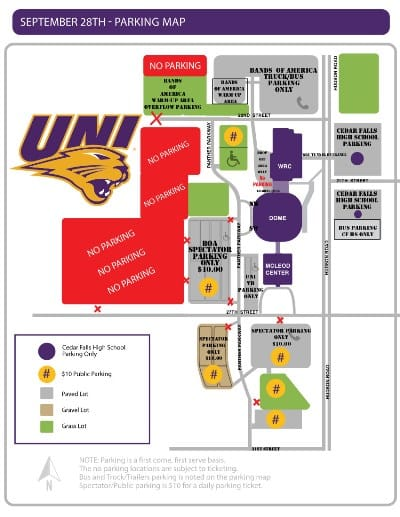 Bands of America - UNI Parking Map - September 28, 2019