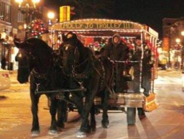 Holiday Hoopla Free Horse-Drawn Trolley Rides | downtown Cedar Falls, Iowa