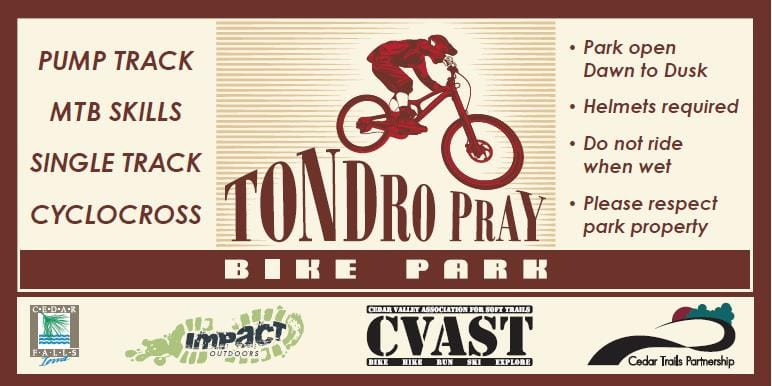 Tondro Pray Bike Park is a City of Cedar Falls park and caters to the BMX and MTB bicycle enthusiasts